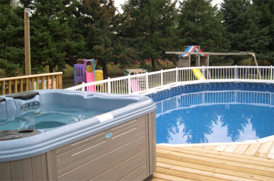 New berlin swimming pool and hot tub service and sales for Above ground pool decks with hot tub